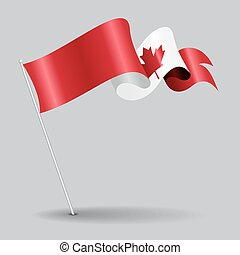 Canadian pin wavy flag. Vector illustration.
