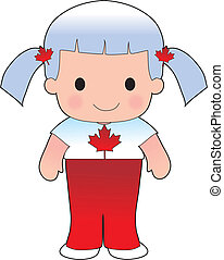 Little girl in a shirt with the Canadian flag on it