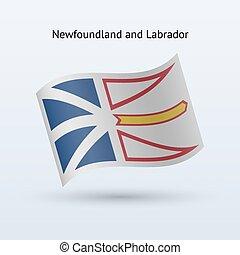 Canadian province of Newfoundland and Labrador flag waving form.