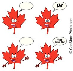 Canadian Red Maple Leaf Cartoon Mascot Character Set 2.Vector Collection