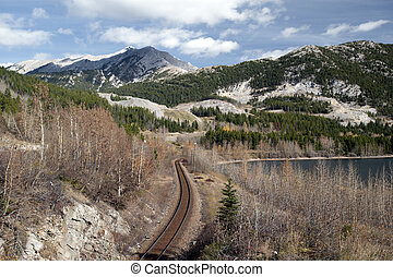 Canadian Rockies with railroad and the lake