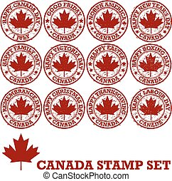 Canadian rubber stamps - Canadian holidays. Set of vector...
