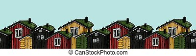 scandinavian red, yellow, black, green houses with grass on the roof colorful border on blue background
