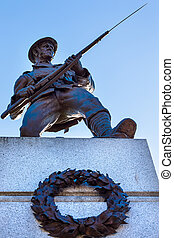 Canadian Soldier Statue for Fallen Canadian Soldiers in World War 1, World War 2 and Korea in Front of Provincial Capital Legislative Parliament Buildiing  Victoria British Columbia Canada.