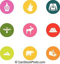 Canadian style icons set, flat style