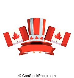 canadian tophat culture with flags frame vector illustration...
