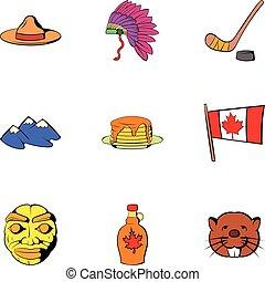 Canadian travel icons set, cartoon style