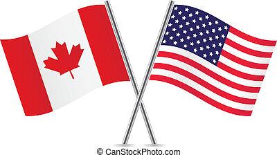 canadien, américain, flags.