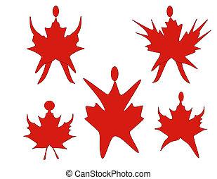 canadien, feuille, érable, danse