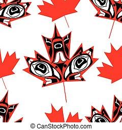 canadien, feuille, érable, indigène