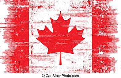 canadien, grunge, drapeau