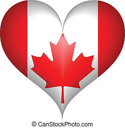 canadien, heart., vecteur, drapeau
