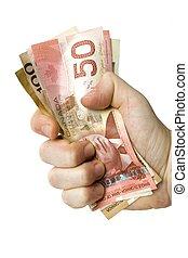 canadien, main, argent