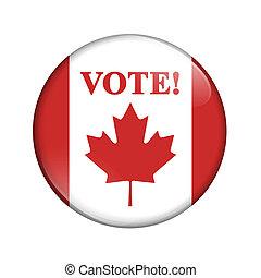 canadien, vote, drapeau, bouton, écusson