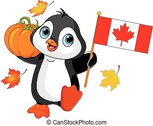 canadiense, acción de gracias, día, pingüino