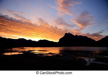 canadiense, bermellón, mañana, monte, lagos, rundle, canadá...