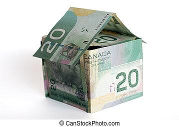 canadiense, dinero, casa