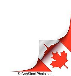 canadiense, papel, arriba, rizado, ilustración, esquina, ...