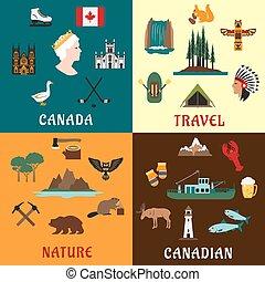 canadiense, viaje, y, naturaleza, plano, iconos