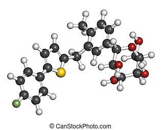 Canagliflozin diabetes drug molecule. SGLT2 inhibitor used...