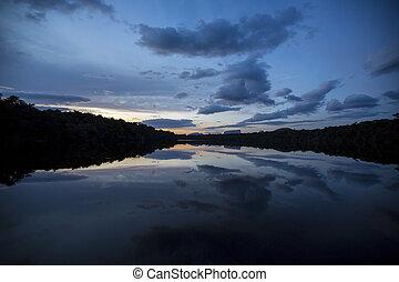 canaima, εθνικός , venezuela., ηλιοβασίλεμα , πάρκο