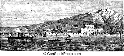 Canakkale in Turkey, vintage engraving