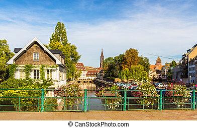 canal,  Área,  Strasbourg, França,  petite