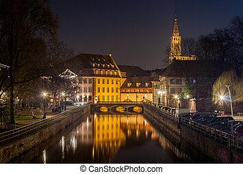canal,  Área,  Strasbourg,  petite,  -, França, Alsácia
