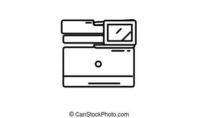 canal, alpha, ligne, imprimante, icône, multifunction