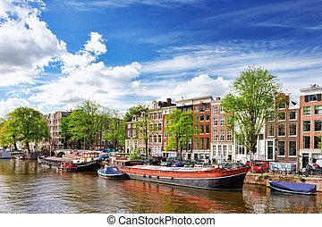 canal, amsterdão, centro cidade