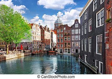 canal, amsterdam, en ville