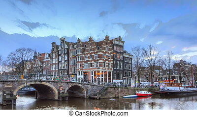 canal, amsterdam, timelapse, coucher soleil, 4k