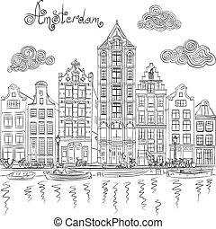 canal, amsterdam, vue, vecteur, ville