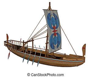 canal, ancien, render, égyptien, -, bateau, 3d