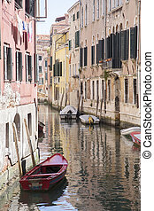 Canal and Boats in Venice