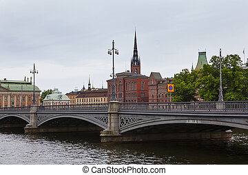 canal and bridge in Stockholm, Sweden
