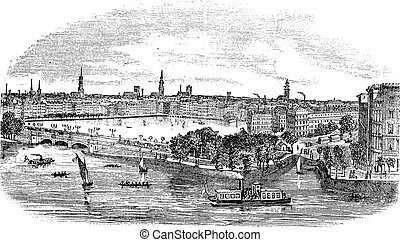 Canal and buildings at Hamburg, Germany vintage engraving. Old engraved illustration of beautiful view of hamburg, during the 1800s.