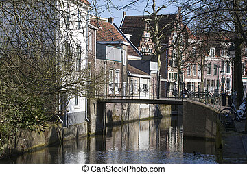 Canal and historic houses in the Netherlands
