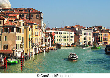 Canal and historic houses in Venice, Italy.