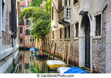 Canal and old buildings, Venice, Italy - Canal reflections...