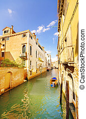 Canal and old houses in Venice, Italy
