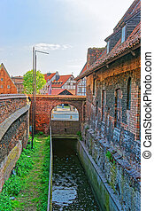 Canal at Brick Mill of Gdansk, Poland