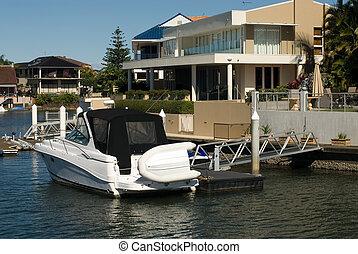 canal, austrália, surfistas, queensland, cena, paraisos