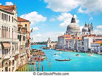 canal, basílica, saludo, di, venecia, grande, santa maría, della