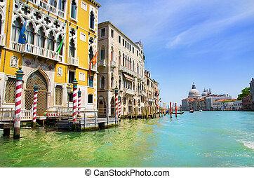 canal, basílica, saludo, italia, venecia, santa, magnífico, maria, della