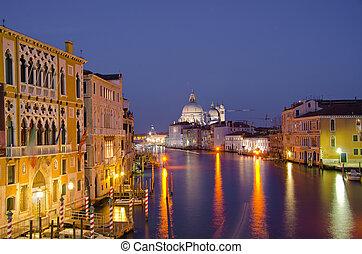 canal, basílica, saludo, venecia, santa, magnífico, maria, ...