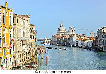 canal, basílica, santa, magnífico, maria, saludo, della