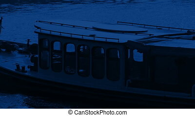 Canal Boat Passes At Night - Long boat goes past in the dark