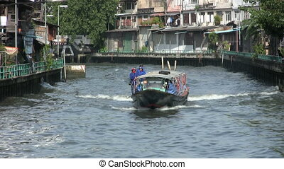 Canal Boat Slow Approach
