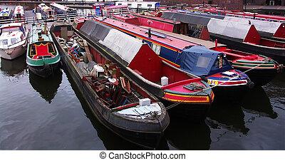canals boats, birmingham, england